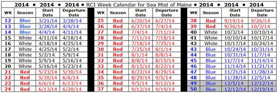 RCI calendar