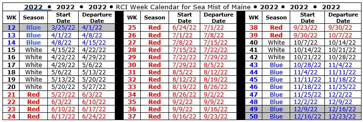 Timeshare Calendar 2022.Rci Weeks Enhancment Sea Mist Resort Motel Sea Mist Resort Motel